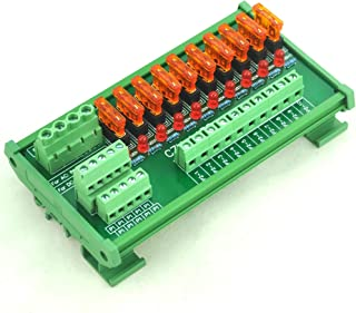 Electronics-Salon DIN Rail Mount 10 Position Power Distribution Fuse Module Board, For AC/DC 5~32V