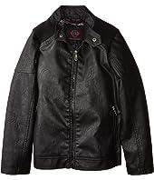 Harry Faux Leather Biker Jacket Ribbed Shoulder (Little Kids/Big Kids)