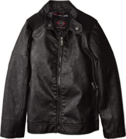 Harry Faux Leather Biker Jacket Ribbed Shoulder (Little Kids/Big Kids)