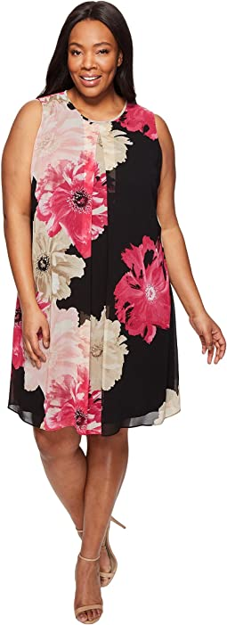 Plus Size Printed Inverted Pleat Dress