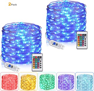 Tesyker 2 Pack Fairy Lights, Lights for Bedroom with Remote Plug in Led String Lights, 16 Color Changing Lights USB Fairy Lights for Patio Indoor Party Costume 33 Ft 100 LEDs, Multicolor Lights