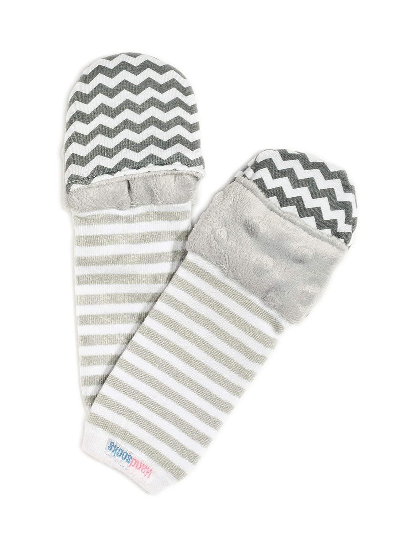 Bailey Newborn Grey Dot//Grey Stripe Handsocks Plushy Stay On -Free No-Scratch /& Warmth Mittens XS