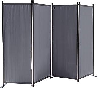 QUICK STAR Paravent 220 x 165 cm Tejido Divisor de habitación Jardín 4-Partición Pared de separación Plegable Balcón Pantalla de privacidad Gris