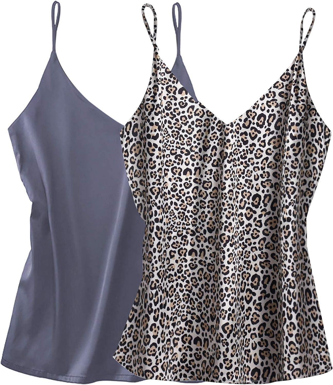 Ekouaer Womens Silk Satin Tank Top 2 Pack V Neck Camisole Cami Spaghetti Strap Top Loose Sleeveless Blouses Tank Shirt