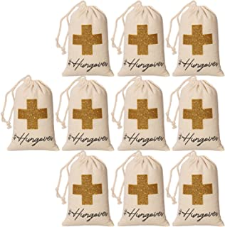 10pcs WHITE Wedding Party Favor Bags 4x6 Inch GOLD GLITTER CROSS Bridesmaid Gift Bags for Bridal Shower Bachelorette Hangover Kit Bags Recovery Kit Bags Cotton Muslin Drawstring Bag