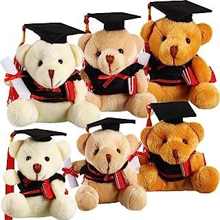 6 Pieces Plush Graduation Bears in 3 Graduation Stuffed Animal Teddy Bear in Black Cap for Kindergarten Elementary High Sc...