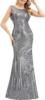 Ever-Pretty Lentejuela Sirena Vestido de Noche Cuello en V sin Respaldo Vestido de Fiesta para Mujer 07110