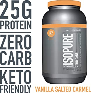 Isopure Zero Carb, Keto Friendly Protein Powder, 100% Whey Protein Isolate, Flavor: Vanilla Salted Caramel, 3 Pound