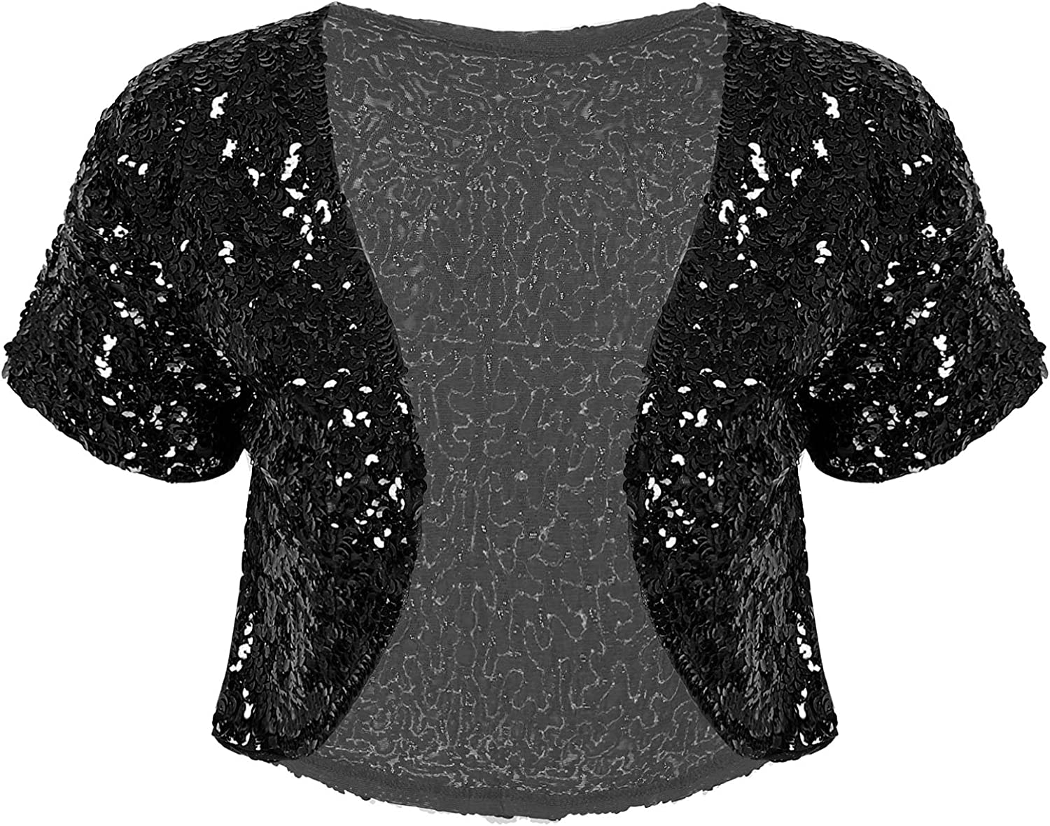 dPois Mesa Mall Women's Shiny Sequin Open Bolero Clearance SALE! Limited time! Shrug Spar Cardigan Front