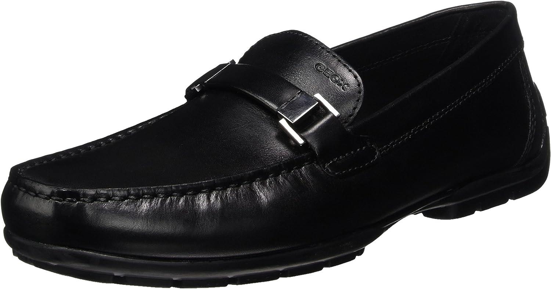Geox Men's Slip On shoes U Moner W 2Fit Black Leather U74Q6A