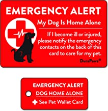 DuraPaws Pets, Dogs & Cats are Home Alone Alert Emergency Plastic Contact Wallet Card and Key Tag (Writable Surface on Back Side of Card)