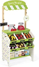 Janod Green Wooden Market Grocery Play Stand with 32 Accessories Ages 3 - 8