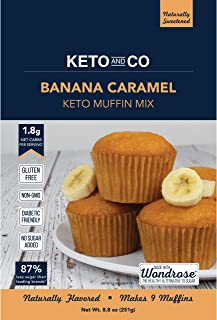 Banana Caramel Keto Muffin Mix by Keto and Co   Just 1.8g Net Carbs Per Serving   Gluten Free, Low Carb, No Added Sugar, Naturally Sweetened  (Banana Caramel Muffins)