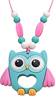 Munchables Owl Chew Necklace - Sensory Chewable Jewelry for Girls (Aqua)