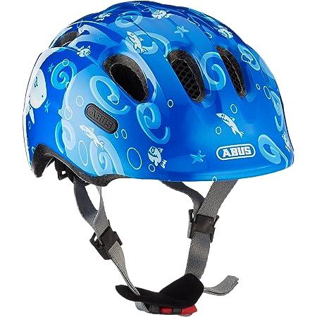 ABUS Smiley 2.0 Kinderhelm - Robuster Fahrradhelm für Mädchen und Jungs - Blau mit Hai-Muster, Größe M