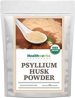 Healthworks Psyllium Husk Powder (16 Ounces / 1 Pound) | Raw | Certified Organic | Finely Ground Powder from India | Keto,...