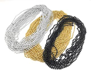 144 Pieces 33 inch 07mm Metallic Silver, Gold, Black Color Mardi Gras Beads Beaded Necklace Ideal for New Years Eve, Anniversary Party, Party Favors, and Table Centerpiece Decorations
