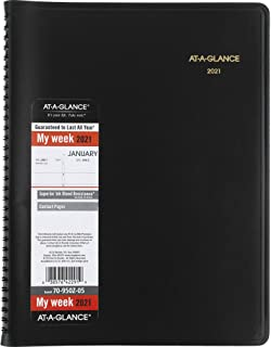 """AT-A-GLANCE 2021 Large Weekly Planner & Annual Calendar, 8-1/4"""" X 11"""", Black, Spiral Bound, Teacher, Student & Family Plan..."""