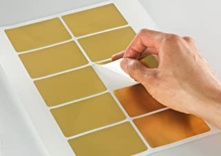 Shiny Gold Foil Round Corner Rectangle Labels, 3 x 2 inches, for Laser Printers with Template and Printing Instructions, 5 Sheets, 50 Labels (GF32)