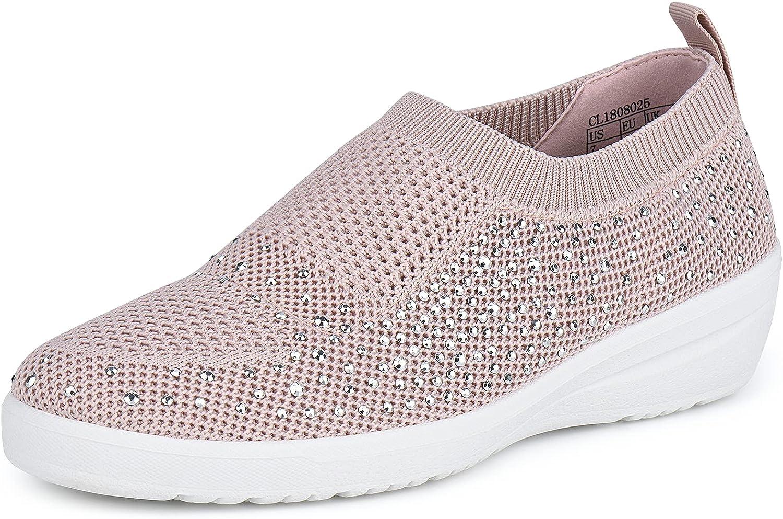 JENN ARDOR Womens Slip Ons Sneaker Shoes Mesh Knit Casual Walking Shoes Breathable Lightweight Fashion Sock Sneakers Loafers