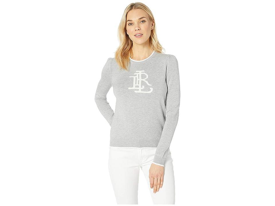 LAUREN Ralph Lauren Monogram Cotton-Blend Sweater (Pearl Grey Heather/Silk White) Women