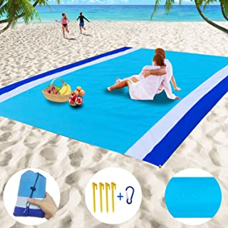 BIGOU Beach Blanket,9x7ft Extra Large Beach Mat Sand Free,Quick Drying Lightweight Outdoor Blanket Waterproof Picnic Blanket for Picnic Travel Camping Outdoor Events