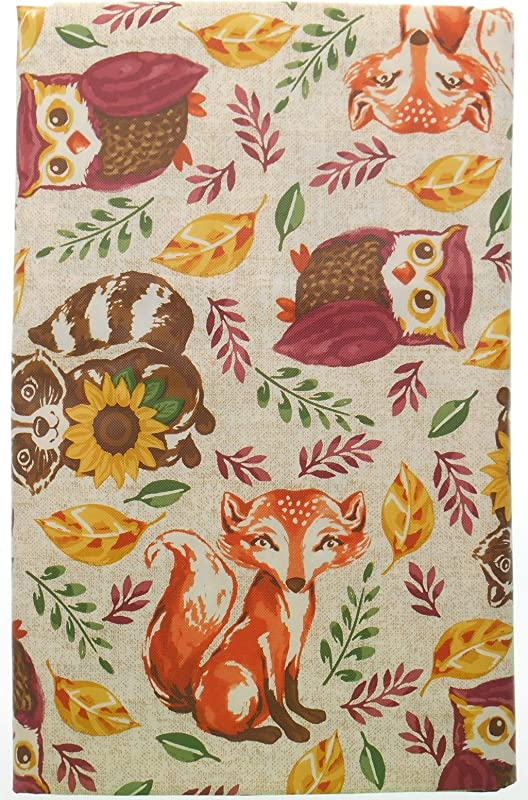 Vinyl Tablecloth Woodland Animals With Flannel Backing Forest Animals On Beige Background 52 X 90 Oblong