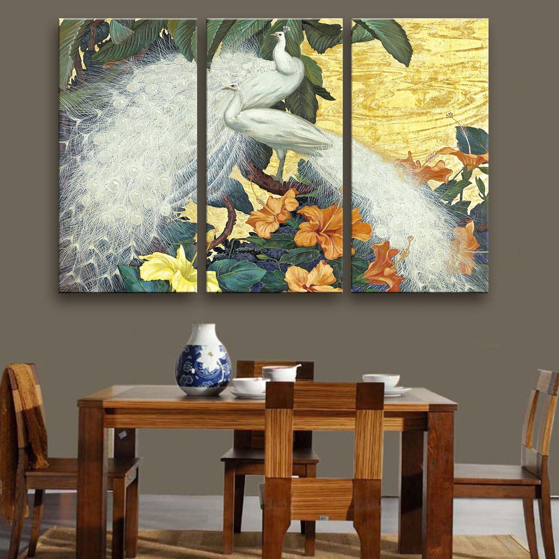 T&Q T&Qing Weie Pfau dekorative Malerei, rahmenlose Gemlde, Wohnzimmer Gang dekorative Malerei, 40  80  3 B07KN34GGN  | 2019