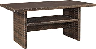 Ashley Furniture Signature Design - Salceda Outdoor Dining Table - Wicker - Faux Wood Top - Brown