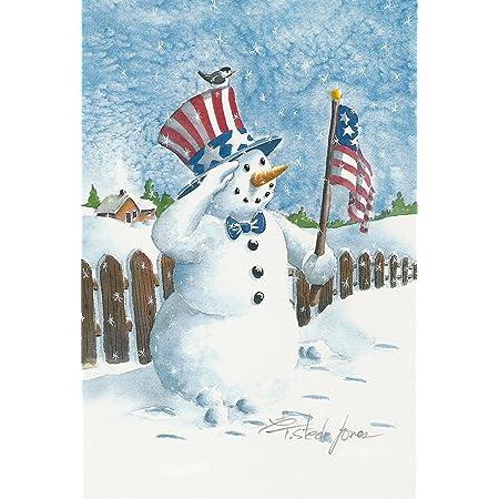 Amazon Com Toland Home Garden Uncle Snowman 28 X 40 Inch Decorative Patriotic Winter House Flag 109741 Red White Blue Garden Outdoor