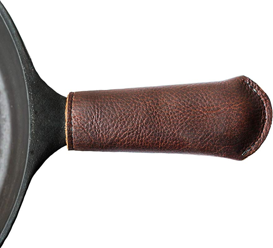 Leather Cast Iron Skillet Pan Handle Cover Made In USA