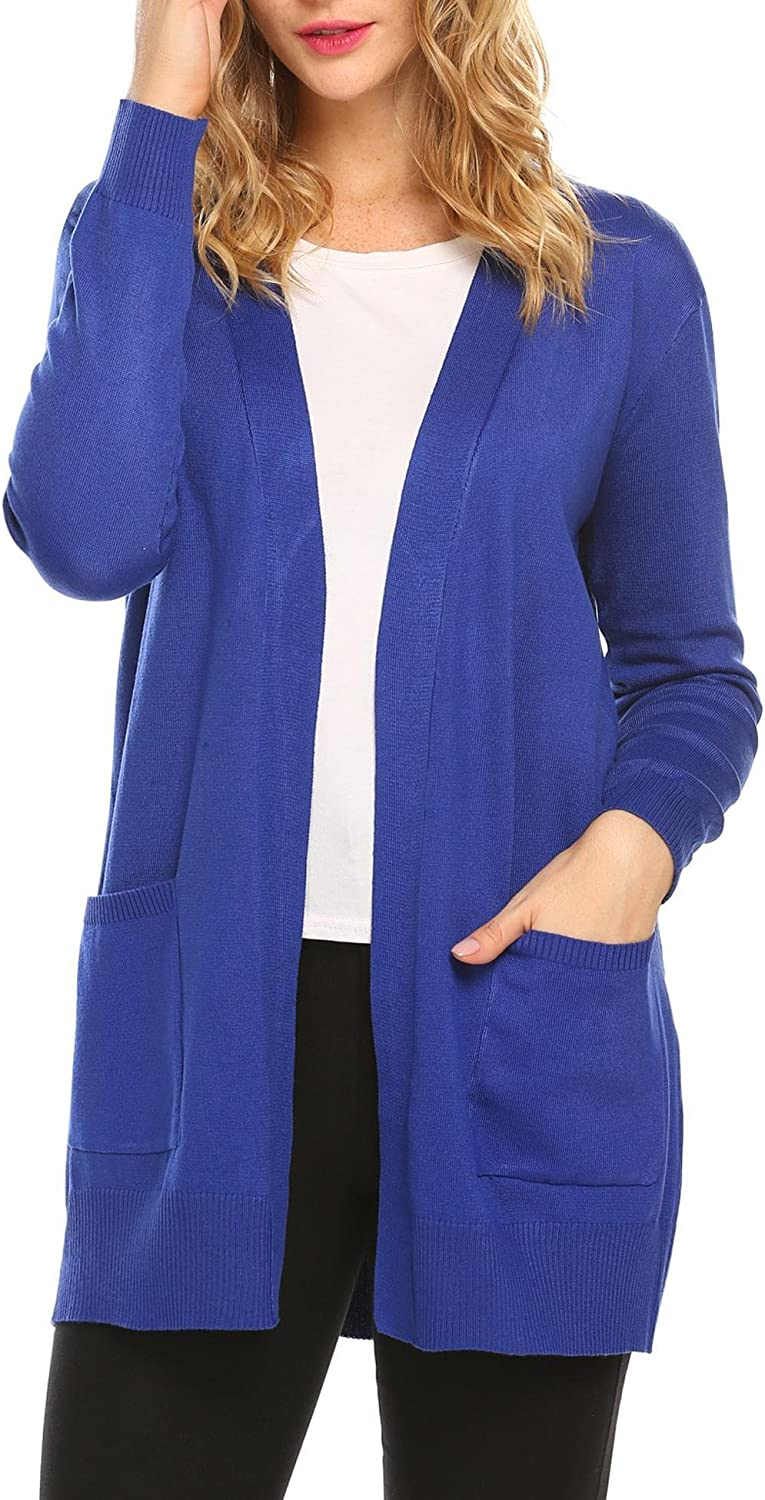 SoTeer Women's Open Front Loose Cable Knit Cardigan Sweater with Pockets