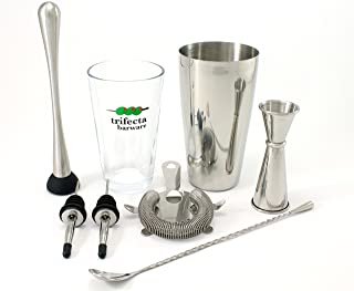 """Cocktail Shaker Set – 7 Piece Essential Barware Kit with Stainless Steel Boston Shaker Tin, Pint Glass, Double Jigger, Hawthorne Strainer, 11"""" Bar Spoon, Muddler and 2 Speed Pours"""