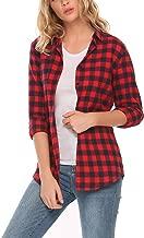 ELESOL Womens Long Sleeve Boyfriend Button Down Plaid Flannel Shirts Tops