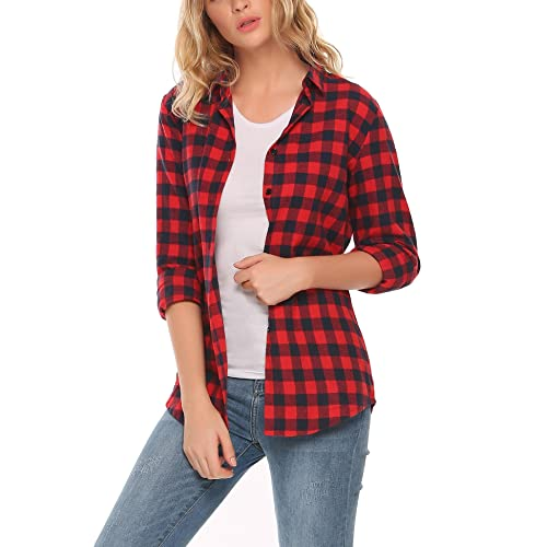 e9cd7d2e7 Meaneor Womens Casual Long Sleeve Boyfriend Plaid Button Down Flannel Shirts  Tops