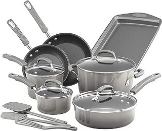 Rachael Ray 19019 Brights Nonstick Cookware Pots and Pans Set, 14 Piece, Sea Salt Gray