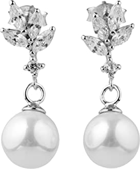 blackbox Jewelry Sterling Silver Long White Cubic Zirconia Simulated Shell Pearl Dangle Earrings