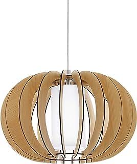 EGLO Lámpara colgante Stellato 1, 1 foco, vintage, lámpara colgante de acero, madera y cristal en níquel mate, arce, blanco, lámpara de comedor, lámpara colgante con casquillo E27, diámetro de 40 cm