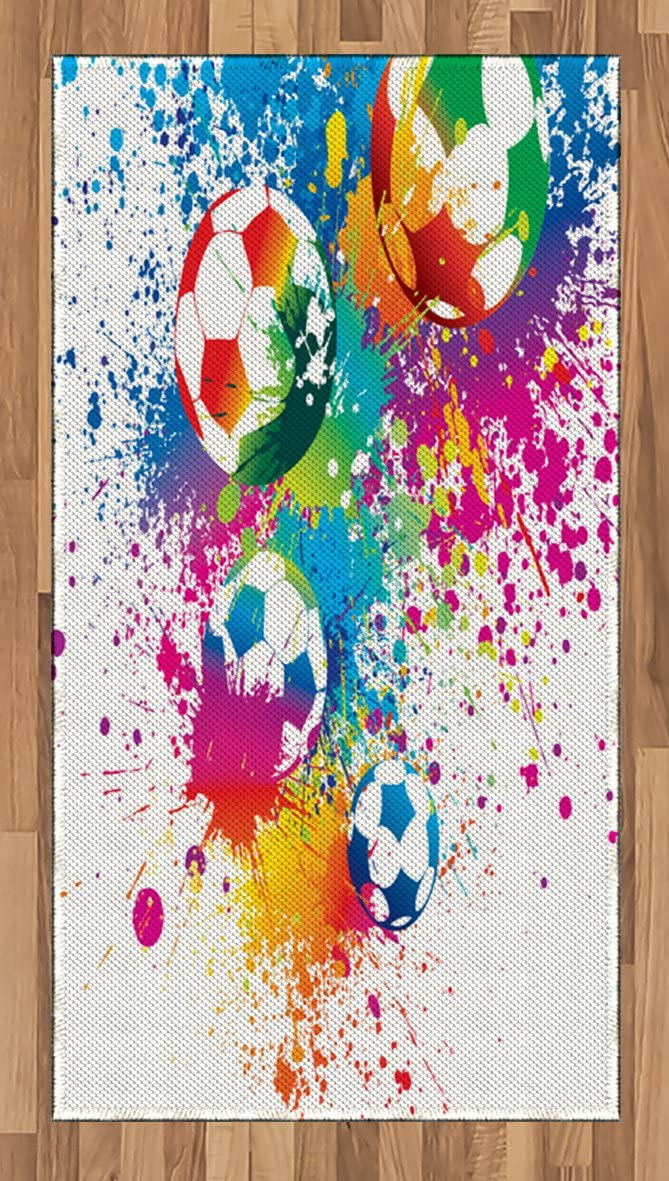 Choice Ambesonne Soccer New product!! Area Rug Colored Splashes Over All Ball