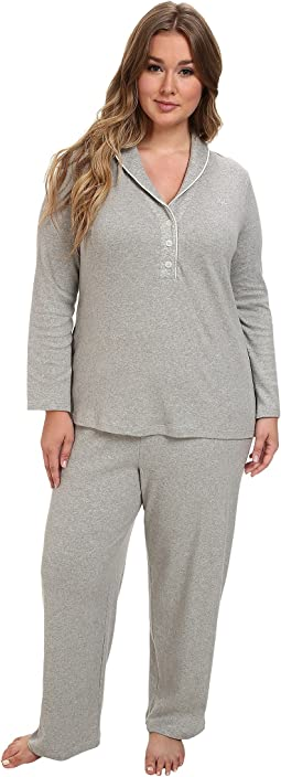 LAUREN Ralph Lauren - Plus Size Hartford Lounge PJ Set with Quilted Collar
