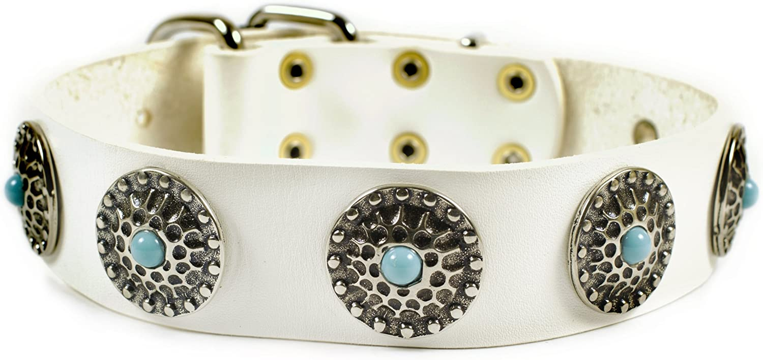 Dean & Tyler  Queenie Dog Collar with bluee Stones and Solid Nickel Hardware, 20 by 11 2Inch, Fits Neck 18 to 22Inch, White