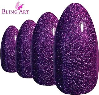 purple glitter nail tips