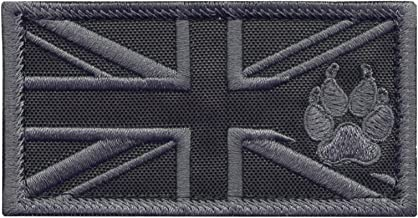 LEGEEON ACU Great Britain UK Union Jack Flag K-9 Dog Handler Subdued Morale Tactical Embroidery Hook-and-Loop Patch