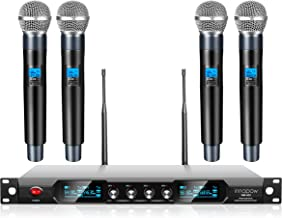 innopow 4-Channel Wireless Microphone System,Quad UHF Metal Cordless Mic, 4 Handheld Mics,Long Distance150-200Ft,Fixed Fre...