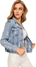 Romwe Women's Casual Long Sleeve Pockets Washed Distressed Denim Jean Jacket