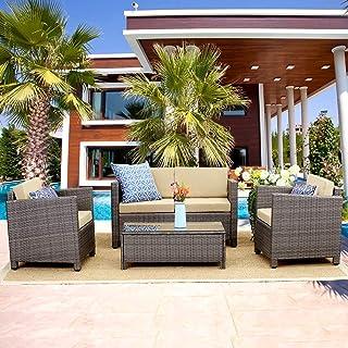 Wisteria Lane Outdoor Patio Furniture Set Piece Conversation Set Rattan Sectional Sofa Couch Loveseat