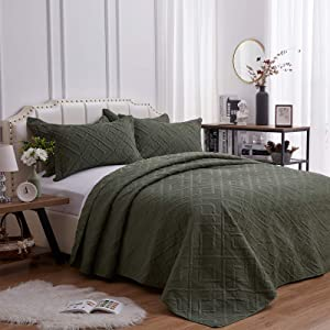SunStyle Home 3 Pieces Quilt Set King Size 106x96 inch Quilted Coverlet with 2 Pillow Shams, Ultra Soft Lightweight Luxurious Microfiber Bedspread Coverlet for All Season,Olive Green-Square,King