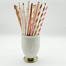 Wedding Paper Straws, 100 Packs Multi Color Bulk Biodegradable for Juice Drinking Soda Cocktails Shakes Birthday Party Anniversary Cafe
