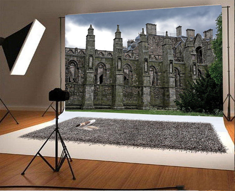 Laeacco 10x6.5ft Vinyl Photography Backdrop The Holyrood Abbey Edinburgh Scotland Landmark Church Castle Scene Photo Background Children Baby Adults Portraits Backdrop