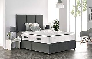 Base de lit en lin avec tête de lit assortie et matelas à ressorts à mémoire de forme Royal (1,8 m Super King – 2 tiroirs,...